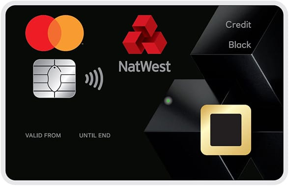 A Natwest biometric credit card, with the fingerprint sensor visible at the bottom right