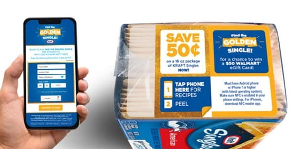 Hand holding smartphone next to pack of Kraft Single cheese