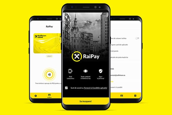 Raiffeisen Bank's RaiPay app running on a mobile phone