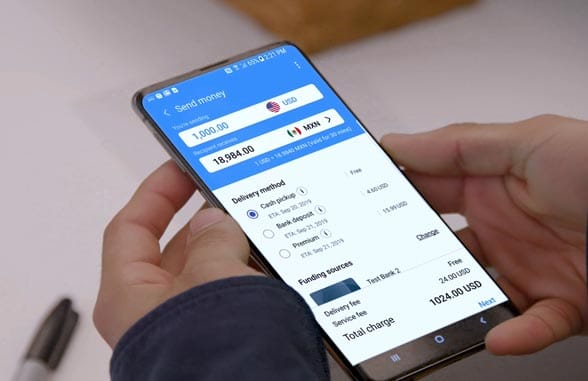 Smartphone screen showing Samsung Money Transfer transaction