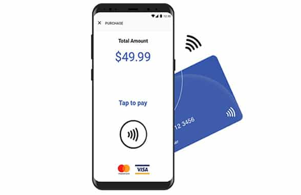 NFC smartphone with contactless, mastercard and visa logos