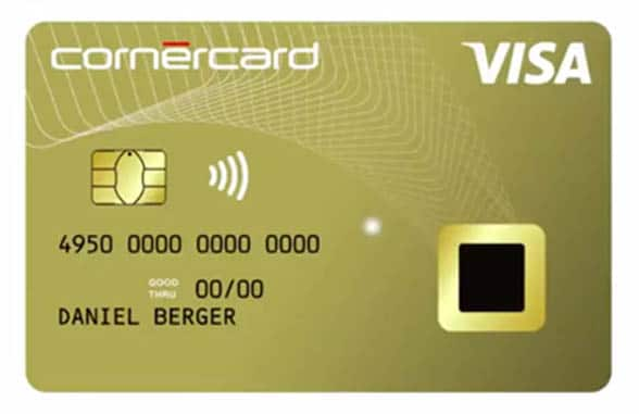 Cornercard biometric contactless credit card