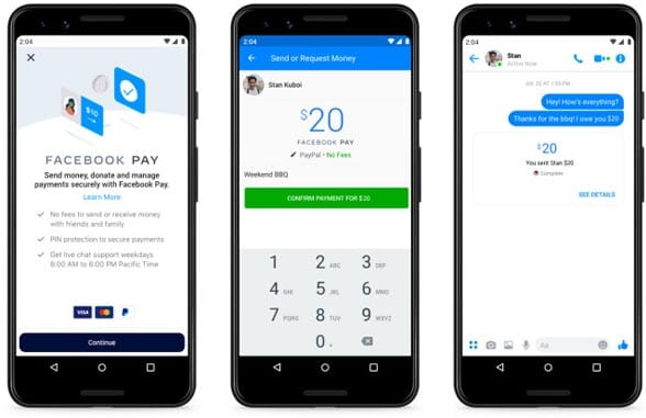 3 Smartphone screens showing Facebook Pay payments flow