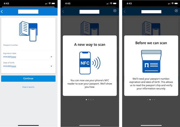 Screenshots showing how American Airlines NFC passport reading mobile app works