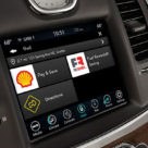 A Fiat Chrysler dashboard shows how drivers can find and pay for fuel from inside their car