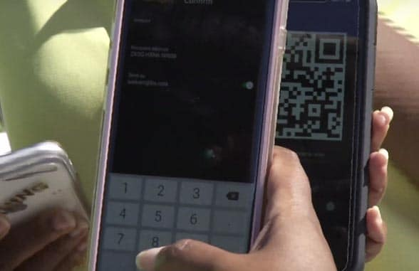 Smartphone screen and qr code