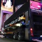 Night shot of Uber enabled RTC South Nevada bus in Las Vegas