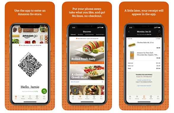 Screenshots of Amazon Go Grocery app
