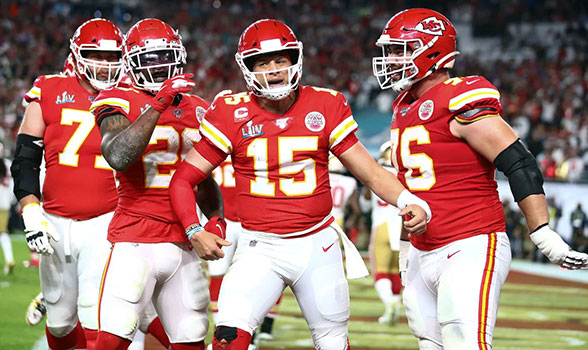 Kansas City Chiefs players at Superbowl LIV on 2 February 2020