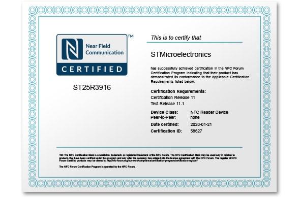 ST ST25R3916 NFC Forum Certificate .pdf