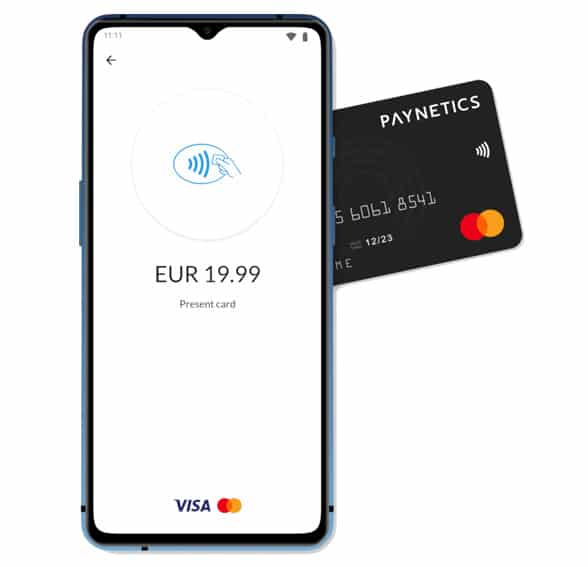 NFC Smartphone with Phos mPos app and Paynetics bank card app