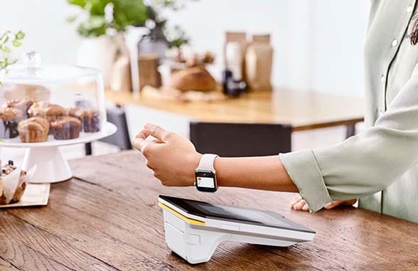 Apple Watch with Apple Pay digital wallet making a payment on a CBA POS