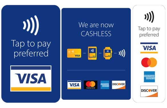 Visa branded cashless contactless merchant decals stickers