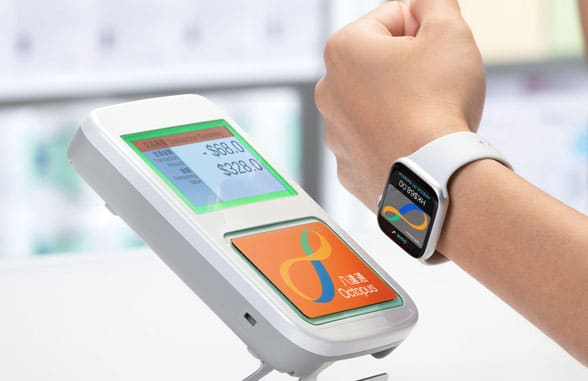 Apple watch with Apple Pay being used on Octopus mass transit terminal