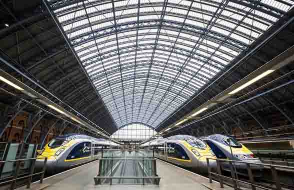 Eurostar trains at St Pancras International London