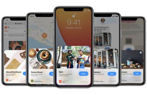 App App Clip on row of iphones