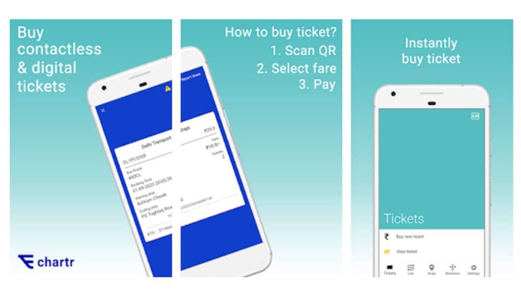 Delhi Transport Corporation Chartr e-ticketing app