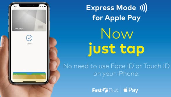 Apple Pay Express Mode on a smartphone for First Bus passengers