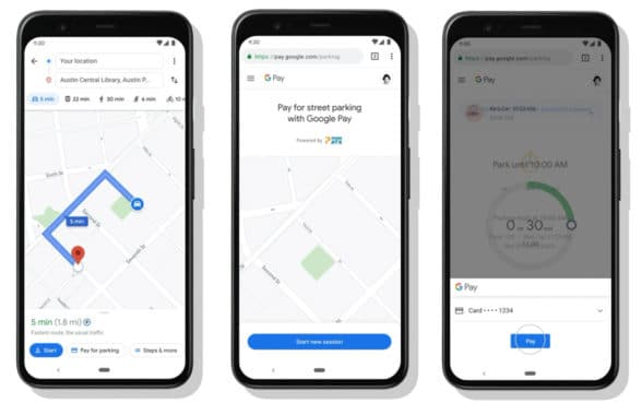 Google Maps pay to park in Austin smartphones