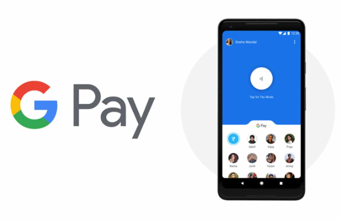 Google Pay  logo with NFC smartphone