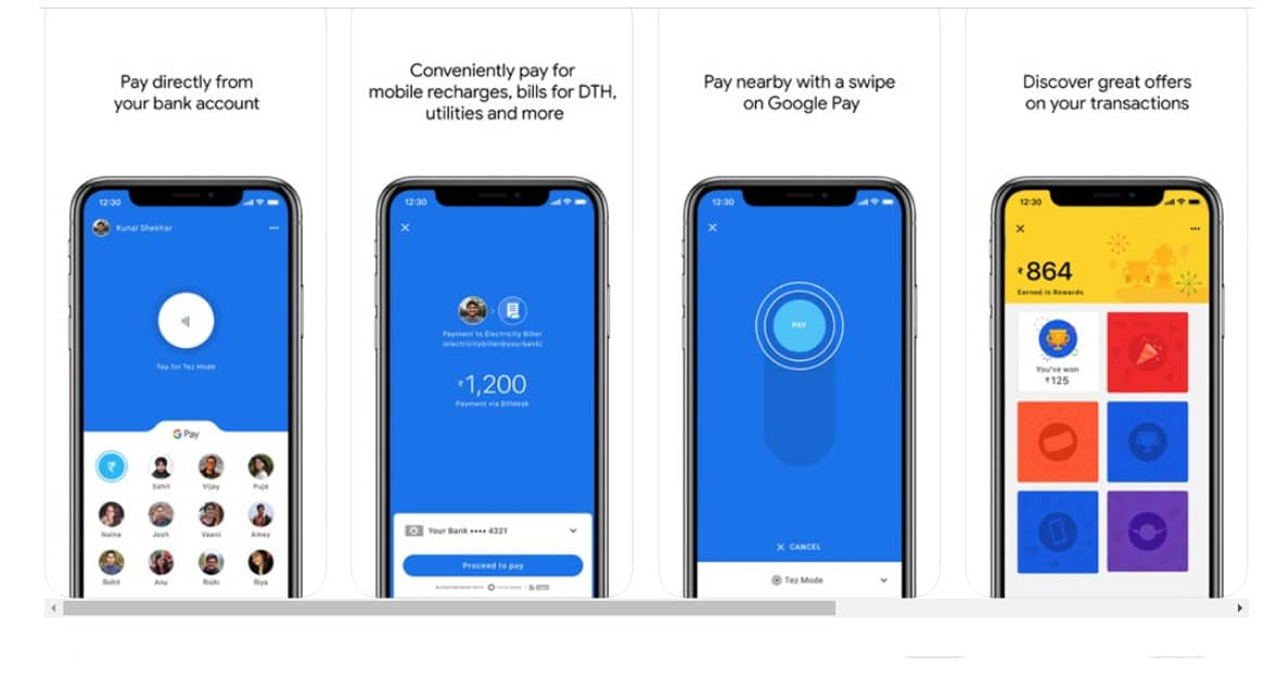 Google Pay India NFC tokenized payments on a smartphone screens
