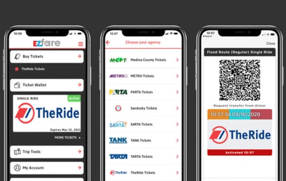 EZfare mobile ticketing app for TheRide, Michigan