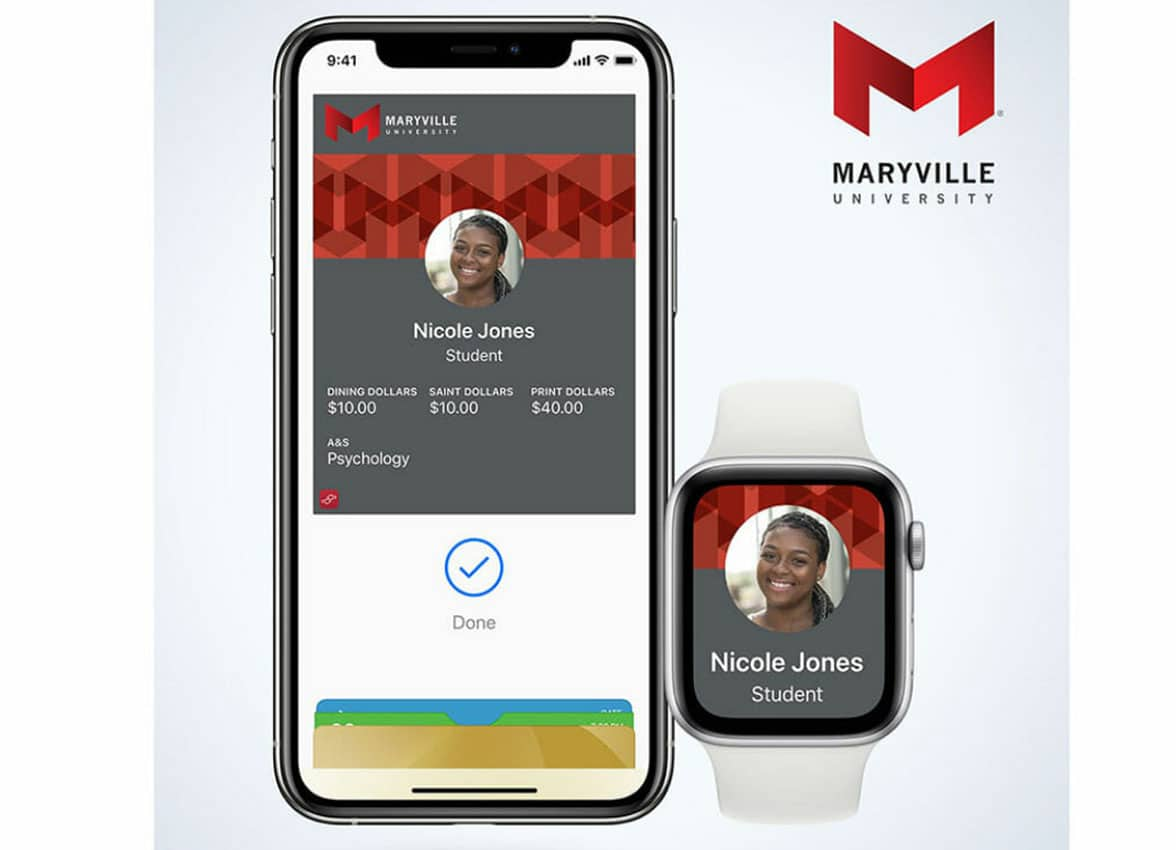 NFC ID on Maryville University student phone and Apple Watch