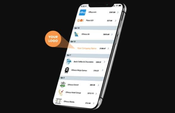 Smartphones showing Mastercard transactiosn with merchant logos