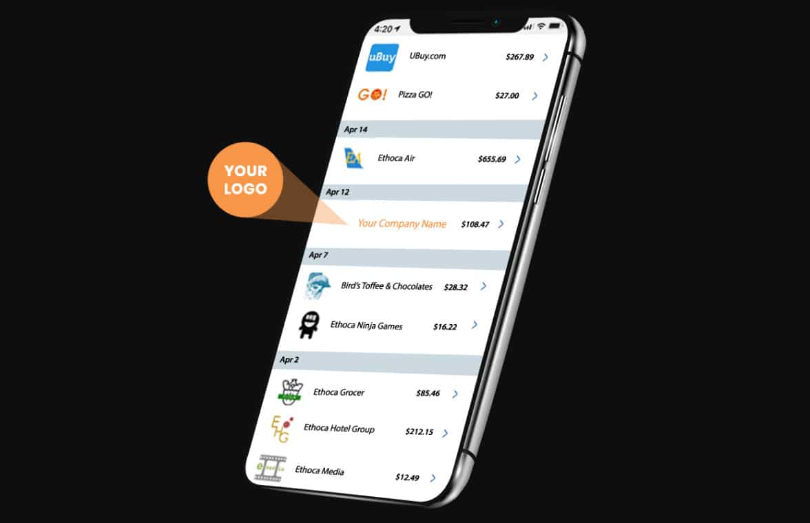 Smartphones showing Mastercard transaction with merchant logos