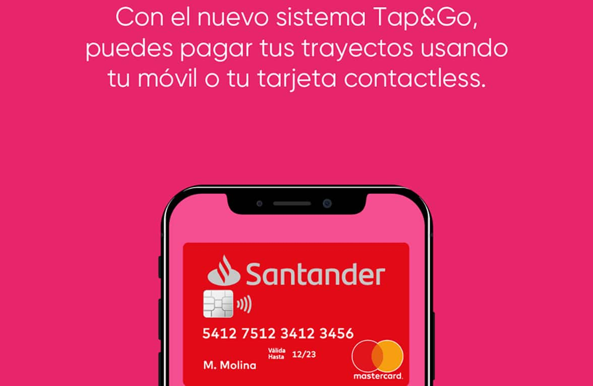 Phone with contactless payment card for Metro de Sevilla tap&go