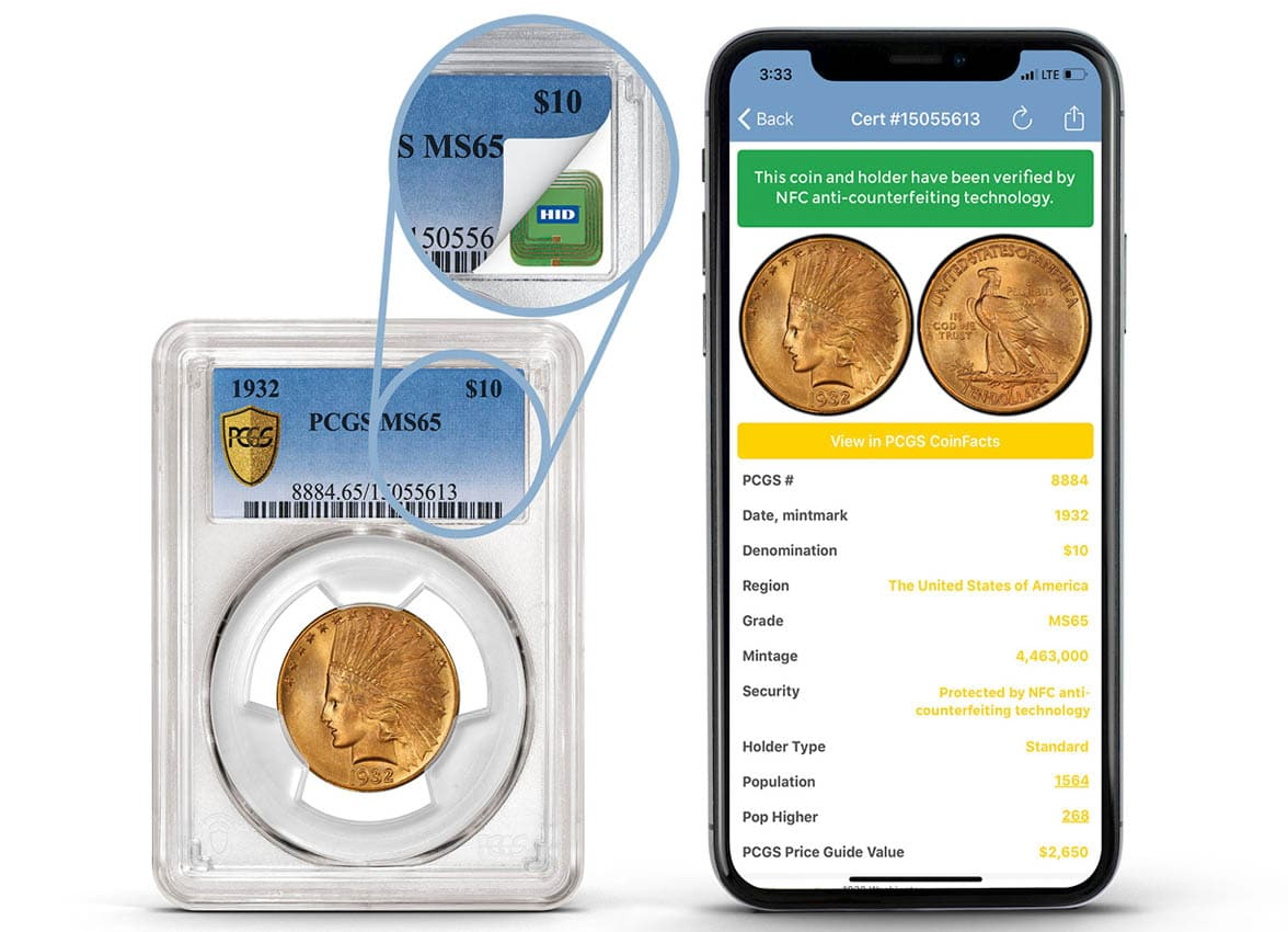 NFC smartphone held against NFC chip coin to verify authenticity