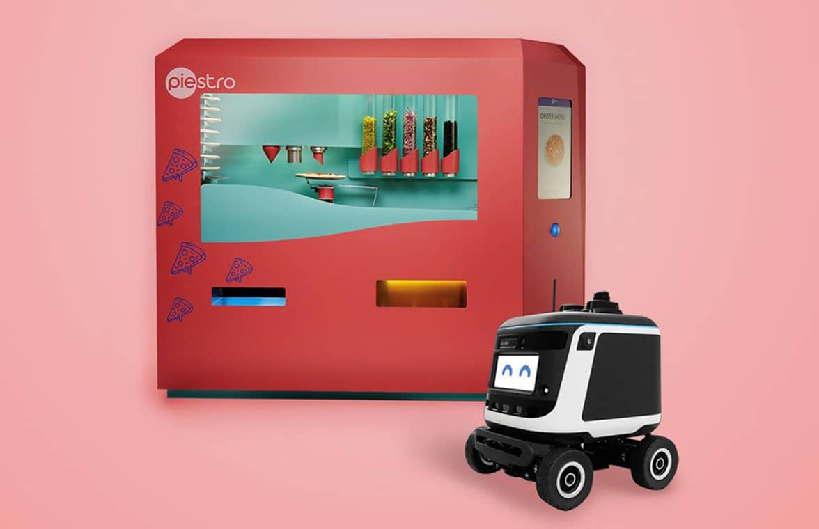 Piestro pizza vending machine and Kiwibot robot delivery van
