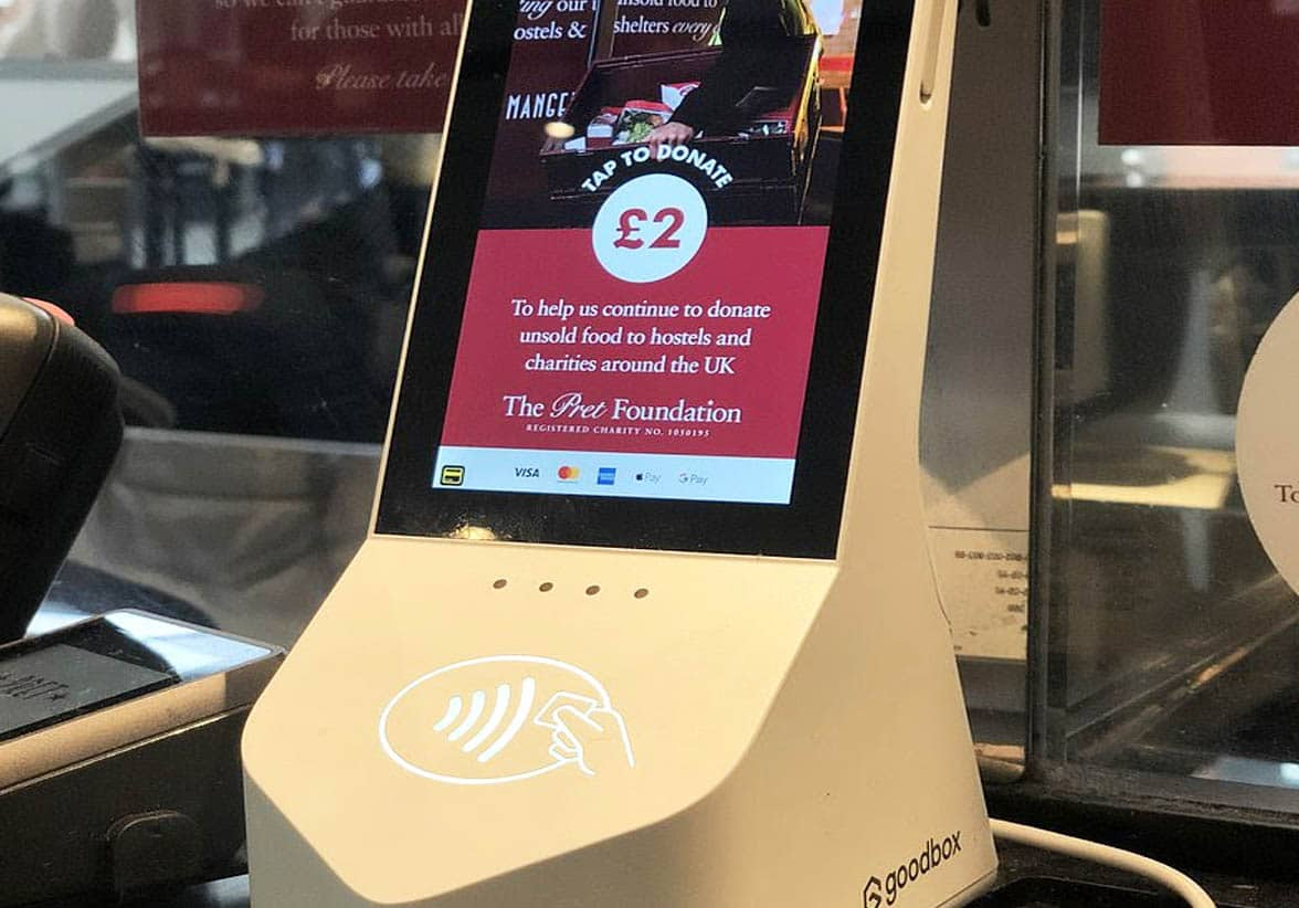Pret A Manger contactless donation point