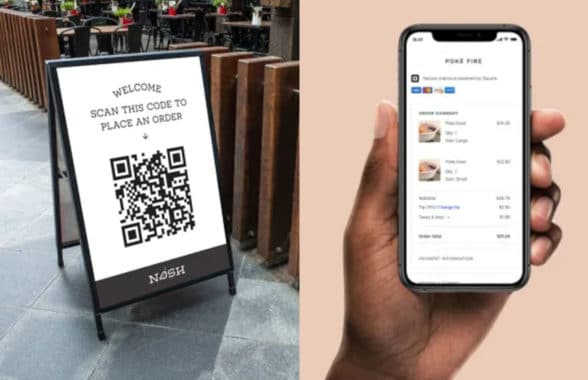 A board with QR code and smartphone showing Square self-order app