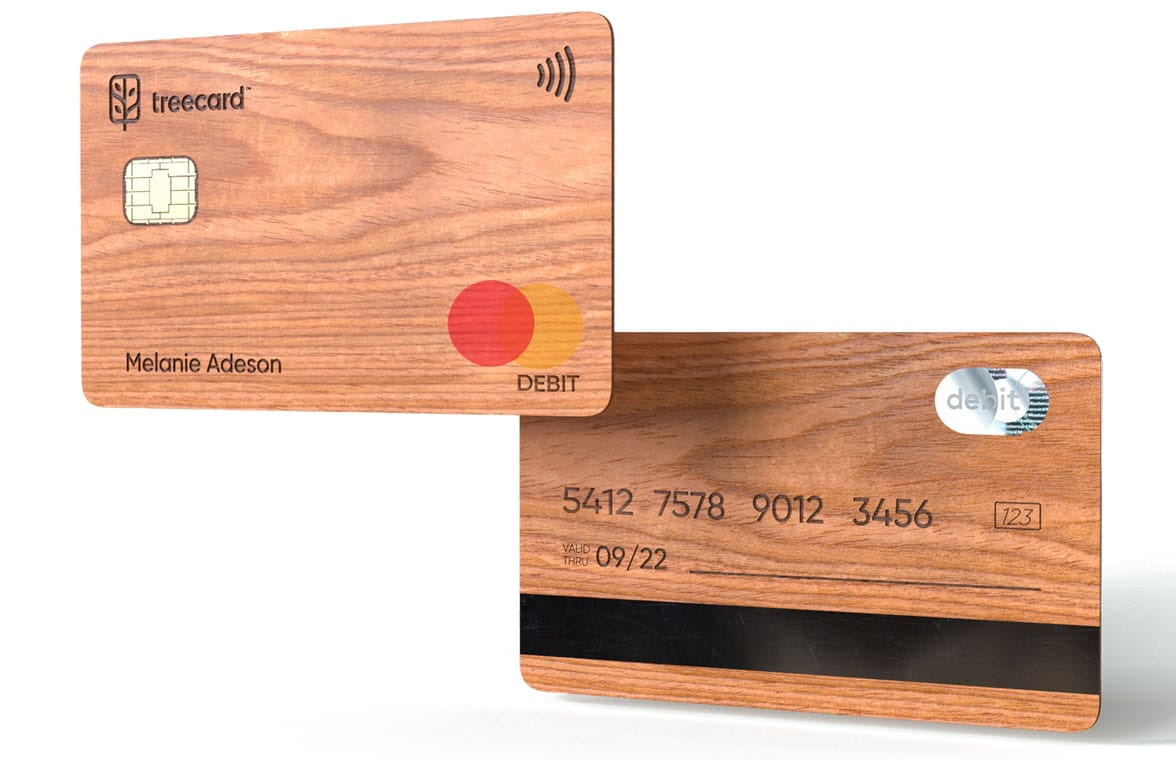 TreeCard contactless wooden debit and credit Mastercards