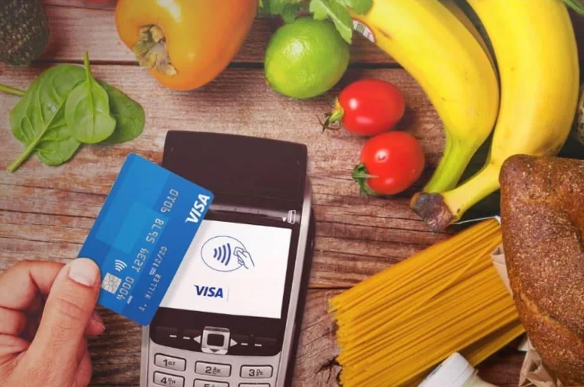 Contactless Visa card used at POS