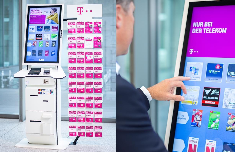 Man using Volksbanken NFC kiosk as part of bank pilot