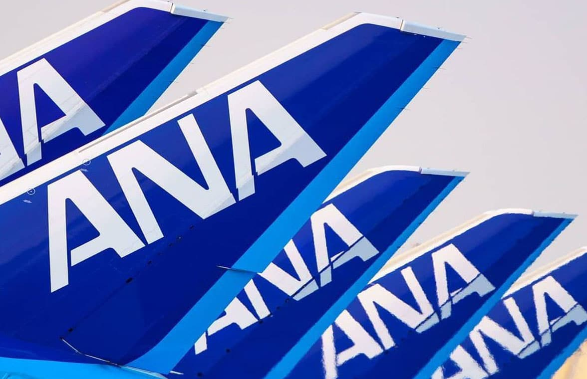 Tail of All Nippon Airways aircraft