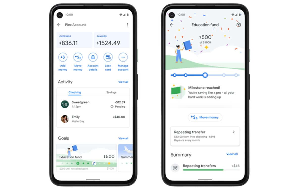 Google Pay mobile first Plex bank account