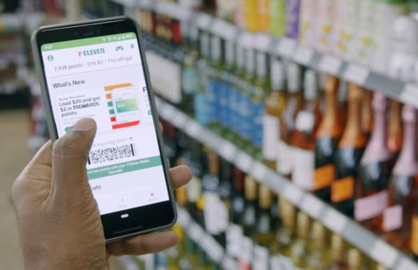 7-Eleven app with mobile wallet on a smartphone