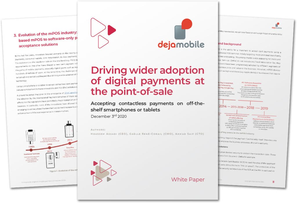 Pages from Dejamobile's 'Driving wider adoption of digital payments at the point of sale: Accepting contactless payments on off-the-shelf smartphones or tablets' white paper