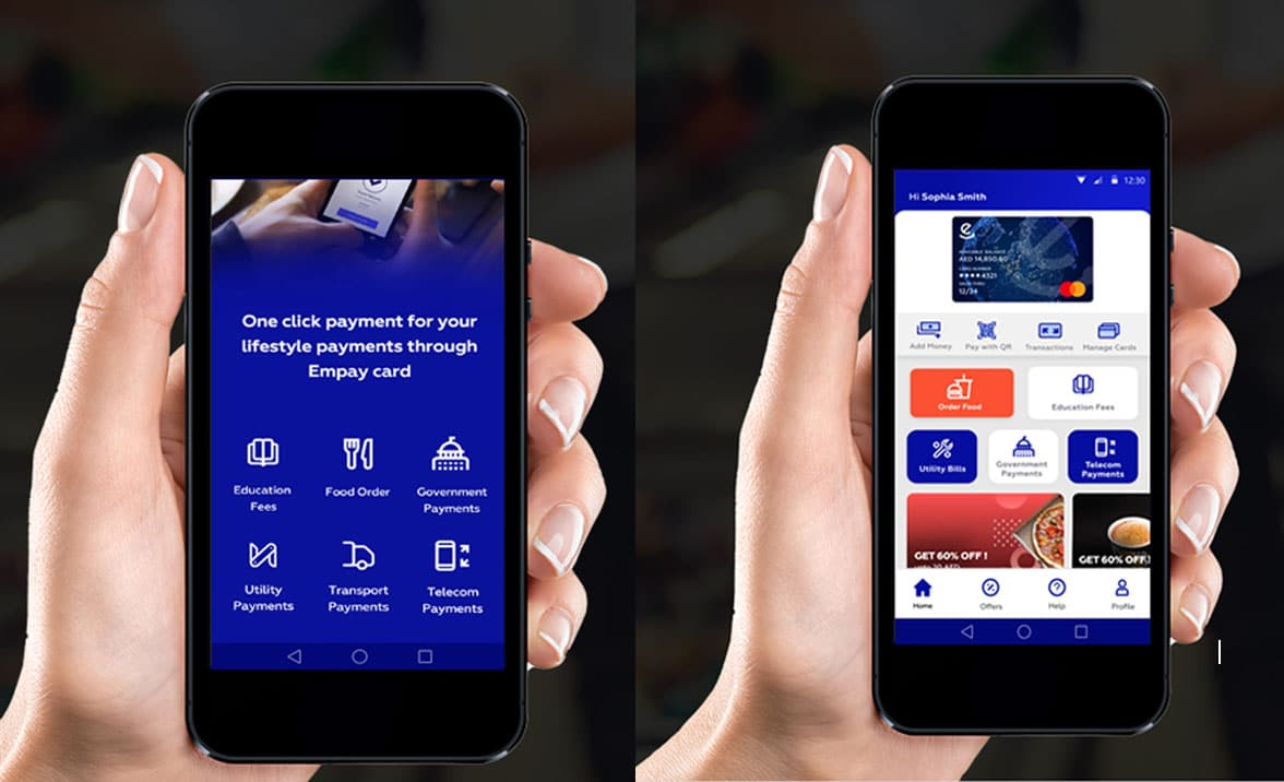 Smartphones showing Empay contactless NFC and QR mobile payments