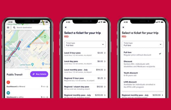 Lyft ride sharing app with RTD Denver ticketing