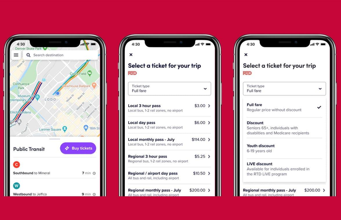 Lyft ride sharing app with RTD Denver ticketing