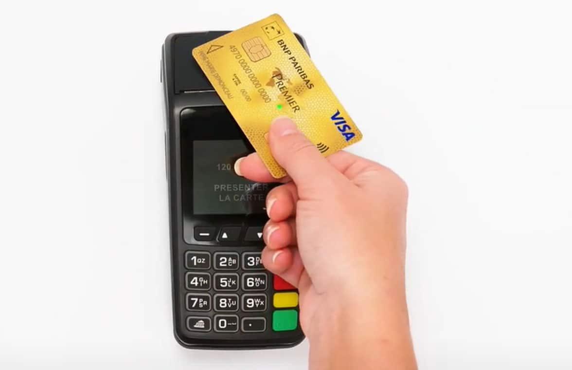 BNP Paribas biometric Visa credit card used to make contactless payment