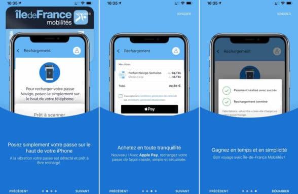 iPhone transit card top up for Paris IDFM