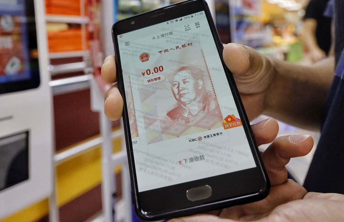 Digital yuan in a mobile wallet on a smartphone