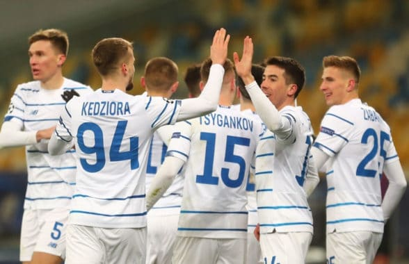 Dynamo Kyiv football players wearing 2020 home strip