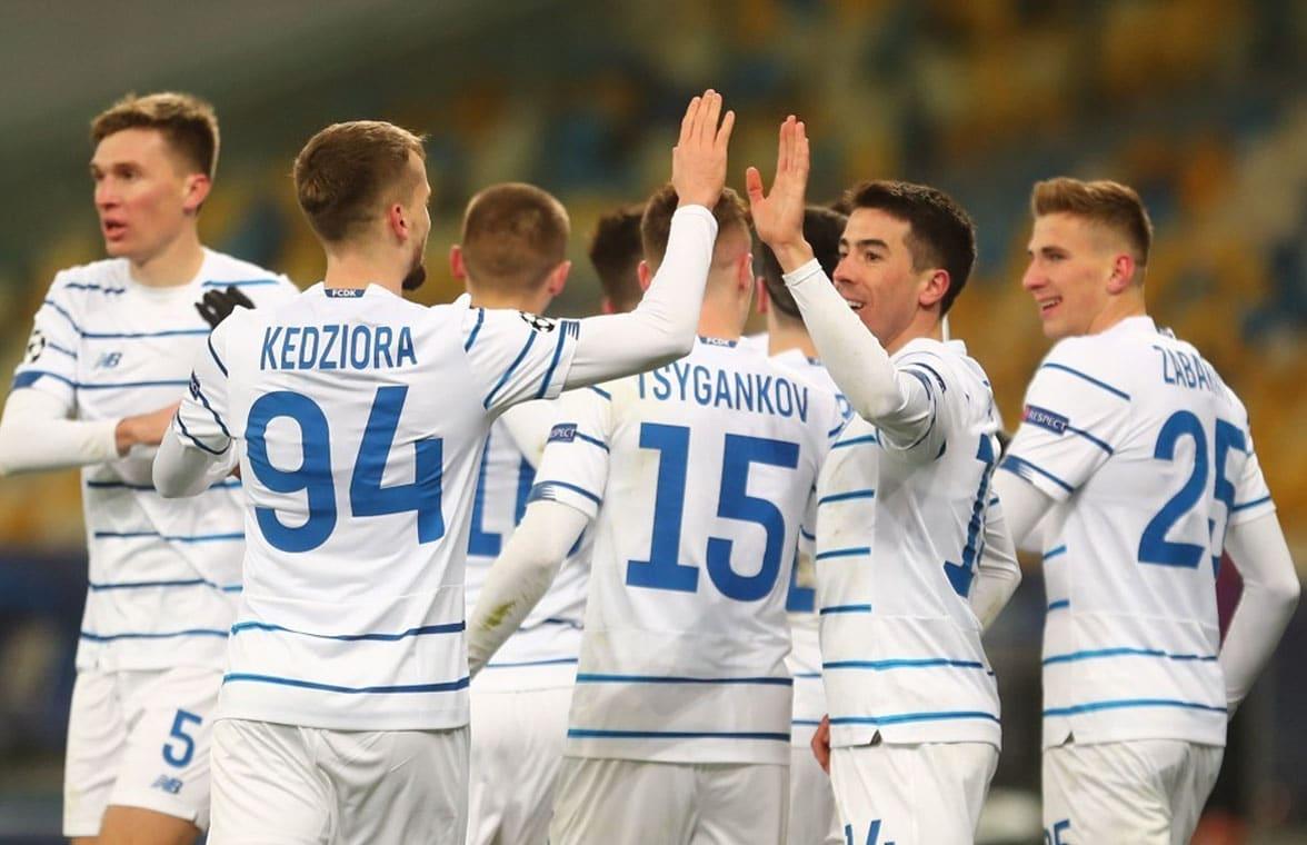 Dynamo Kyiv football players wearing 2020 home strip