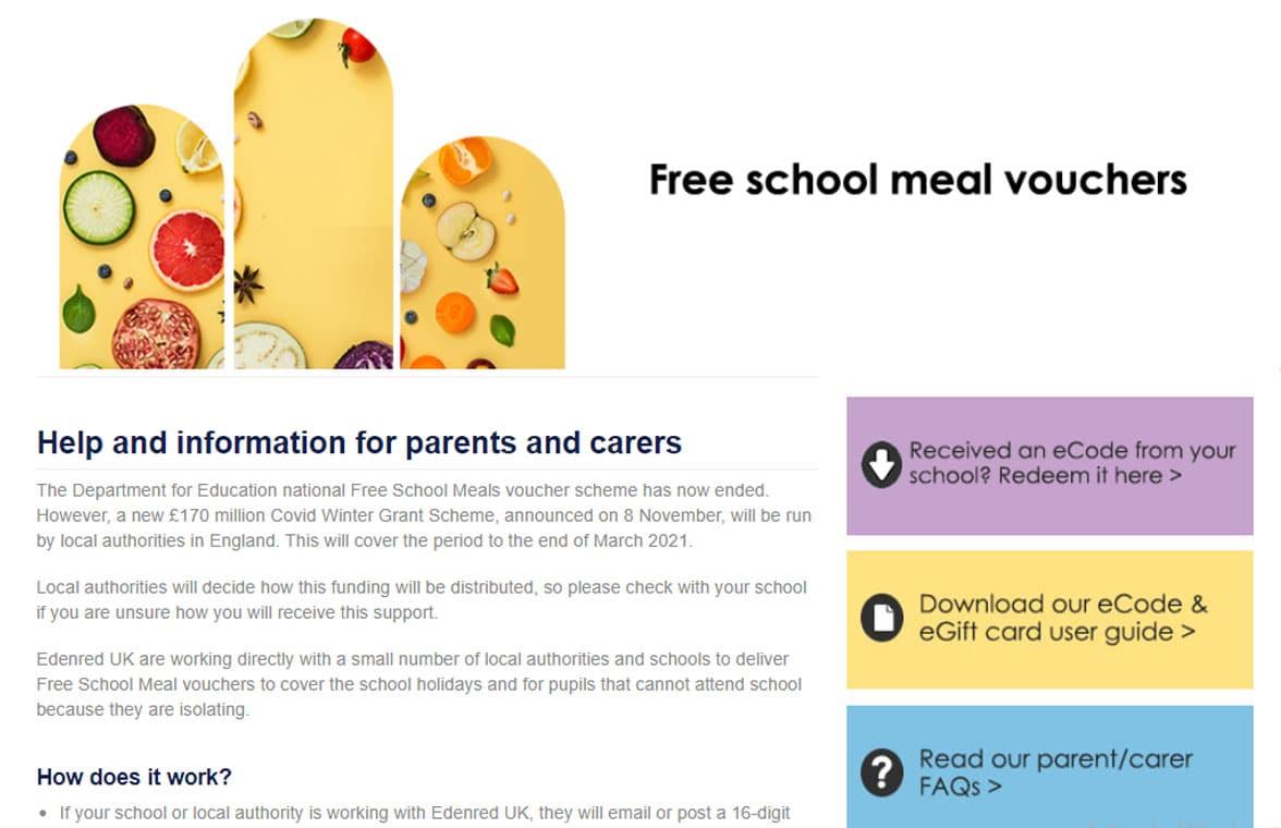Edenred digital free school meal vouchers page